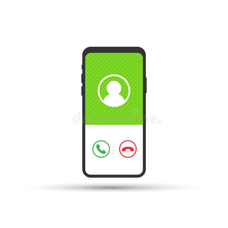 Smartphone with incoming call on display. Vector illustration. Smartphone with incoming call on display. Vector stock illustration vector illustration