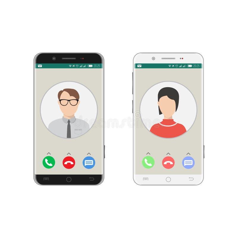 Smartphone incoming call stock illustration