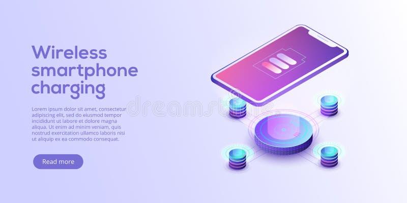 Smartphone inductivo que carga el ejemplo isométrico del vector abs stock de ilustración