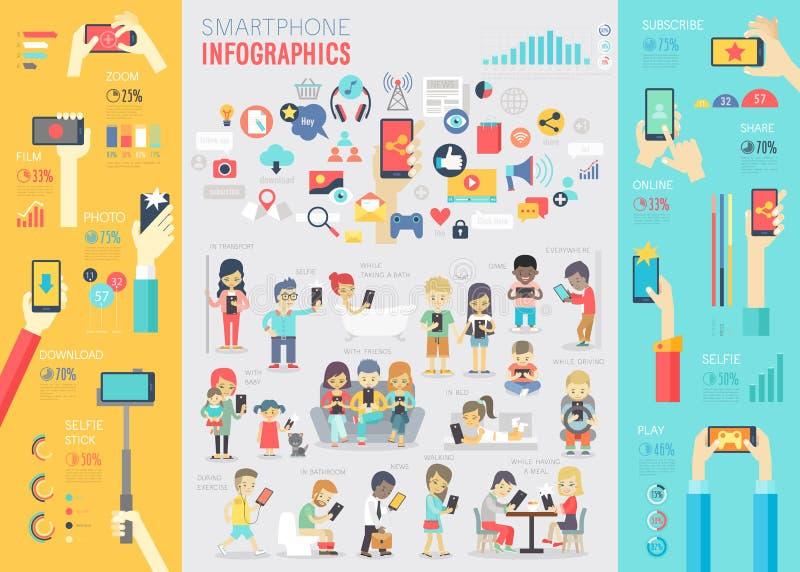 Smartphone Infographic fijó con las cartas y otros elementos libre illustration