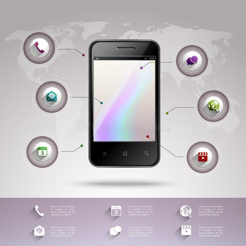 Smartphone infographic mall vektor illustrationer