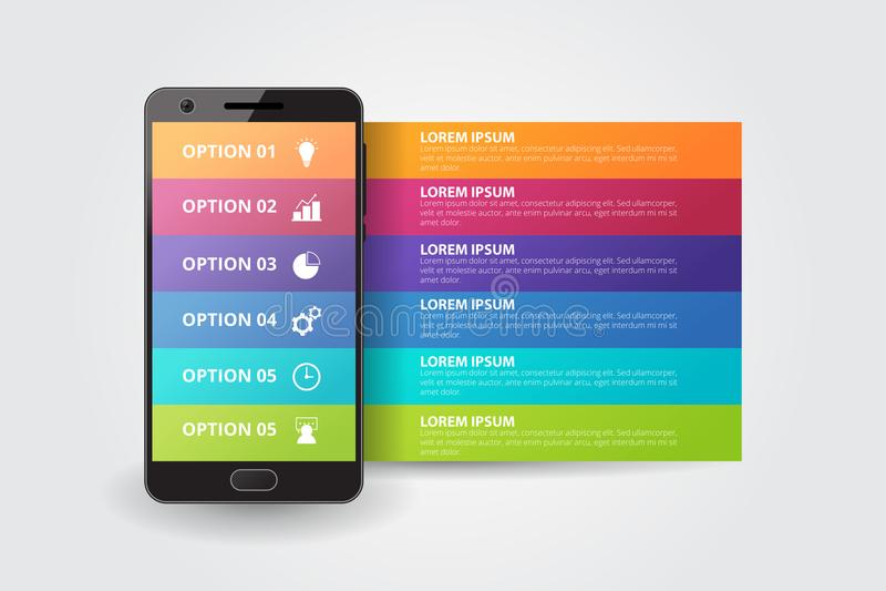 Smartphone Infographics mall för affären, utbildning, rengöringsdukdesign, baner, broschyrer, reklamblad vektor illustrationer