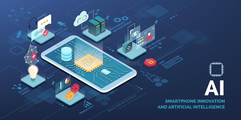Smartphone innovatore con le applicazioni di AI royalty illustrazione gratis