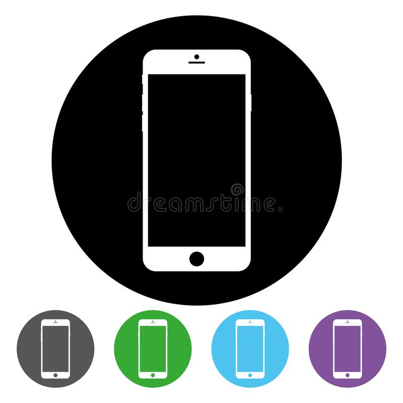 Smartphone inside black circle icon vector eps10. Black circle has smartphone inside for web design sign. royalty free illustration
