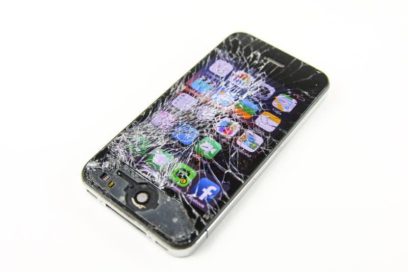 Screen broken smartphone stock photography