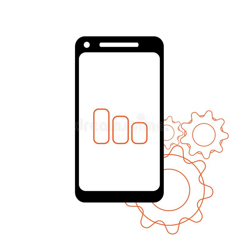 Smartphone in iphone style black color with blank touch screen isolated on white background. stock vector illustration. Eps10 royalty free illustration