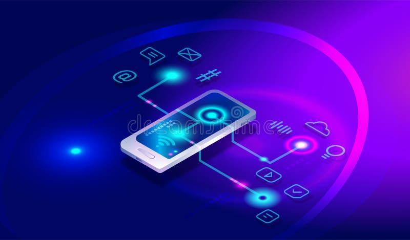 Smartphone isométrico com aplicações diferentes, apps, serviços em linha, software Smartphone isométrico, telefone celular, opera ilustração royalty free