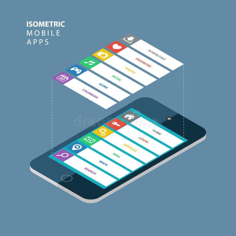 Smartphone isométrico com elementos de uma relação Conceito móvel isométrico dos apps ilustração royalty free