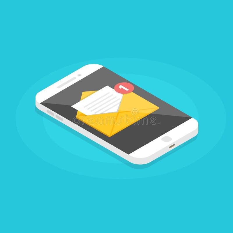Smartphone isométrico con el correo electrónico de notificación Consiga el concepto del email stock de ilustración