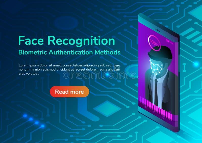 Smartphone isométrico con el sistema de reconocimiento facial libre illustration