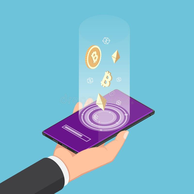 Smartphone isométrico de la tenencia de la mano del hombre de negocios con símbolo del cryptocurrency stock de ilustración