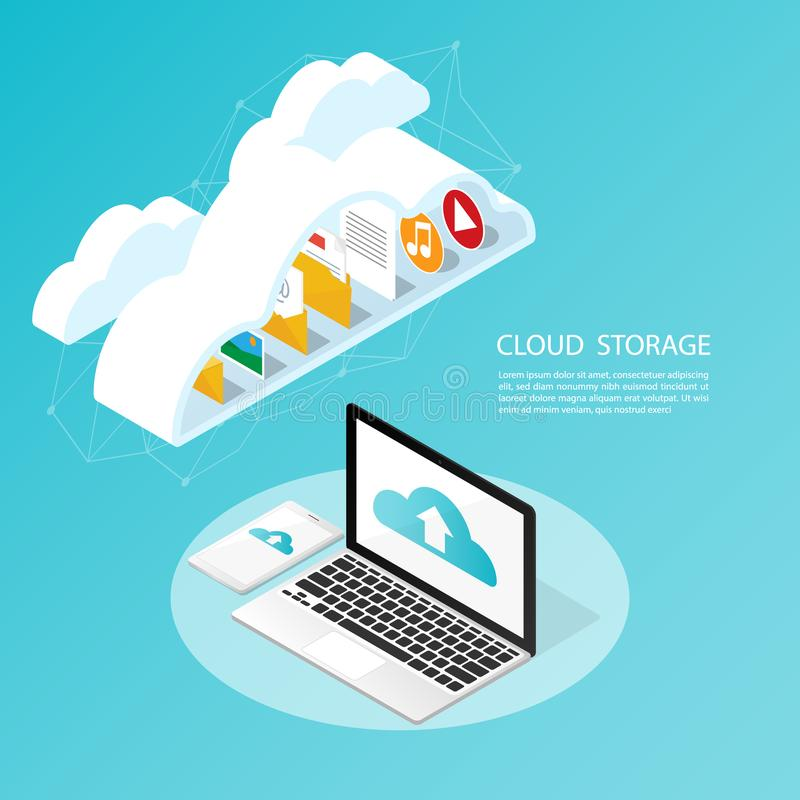 Smartphone isométrico del ordenador, vector de reserva del almacenamiento de la nube de la carga por teletratamiento dondequiera stock de ilustración