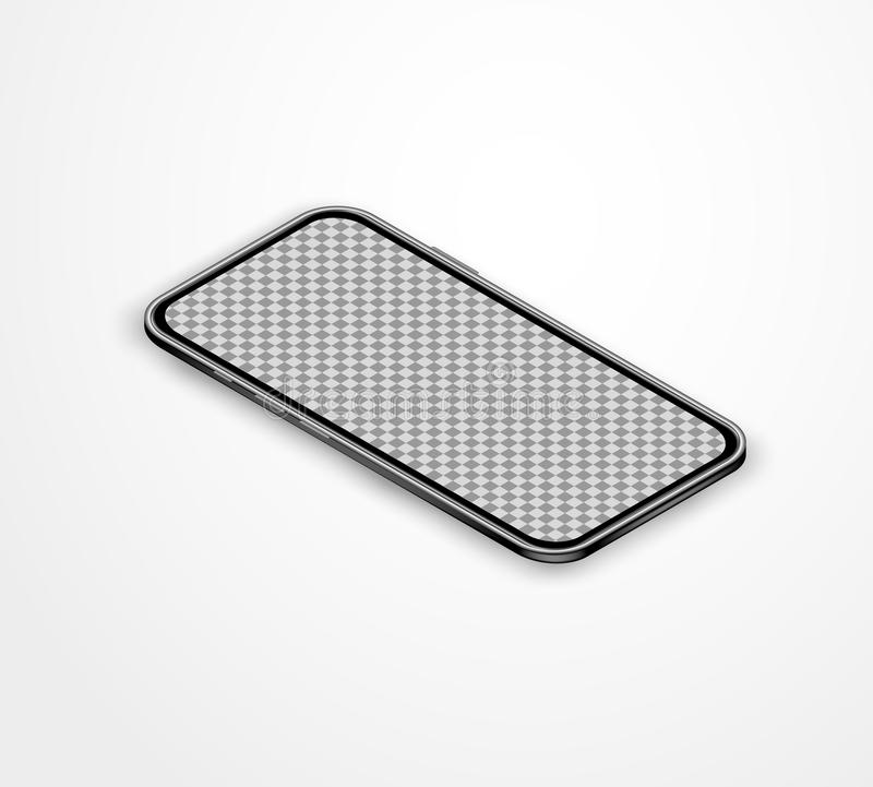 Smartphone isométrique noir réaliste avec l'écran tactile vide sur la table blanche Illustration de vecteur de Moder pour la bann illustration libre de droits