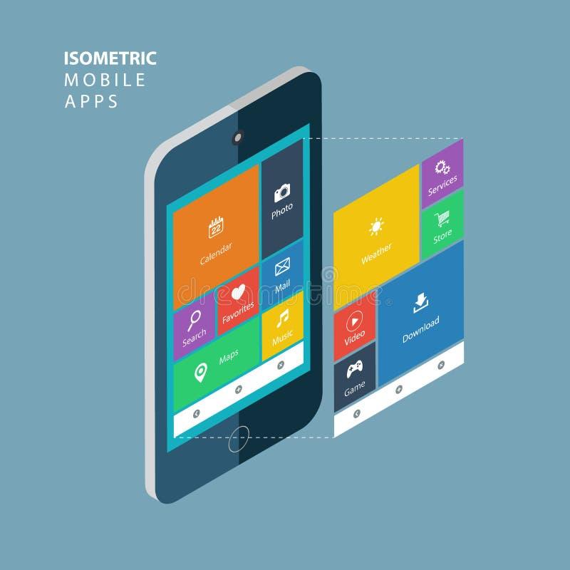 Smartphone isometrico con gli elementi di un'interfaccia Concetto mobile isometrico dei apps illustrazione vettoriale
