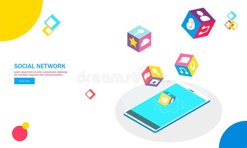 Smartphone isometrico con le applicazioni sociali multiple di media sopra illustrazione vettoriale