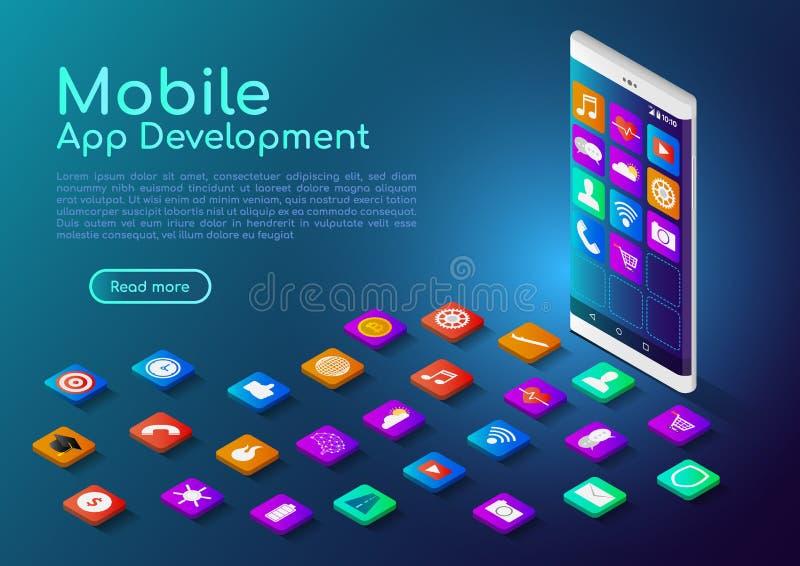 Smartphone isometrico dell'insegna di web con l'icona mobile di app illustrazione di stock