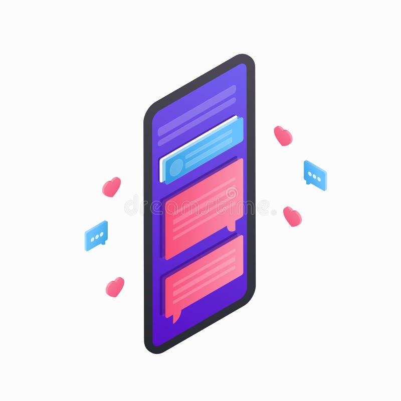 Smartphone isometrisk symbol 3D sänker mobila enheten med kommunikationssymboler och pratar på skärmen som isoleras på vit royaltyfri illustrationer
