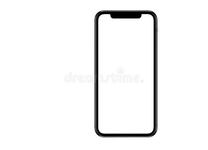Smartphone jednakowy iphone xs max z pustym bielu ekranem dla Infographic Globalnego biznesu Marketingowego planu, mockup wzorcow zdjęcie stock
