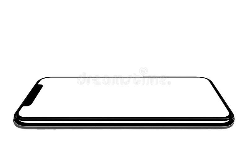 Smartphone jednakowy iphone xs max z pustym bielu ekranem dla Infographic Globalnego biznesu Wprowadza? na rynek inwestorskiego p ilustracja wektor
