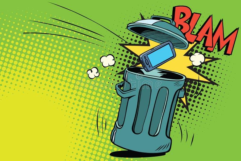 Smartphone jeté dans les déchets illustration de vecteur