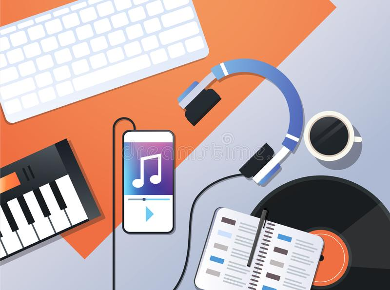 Smartphone jouant la musique par l'intermédiaire du bureau mobile audio de lieu de travail de vue d'angle supérieur de concept d' illustration stock