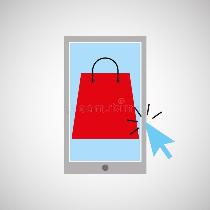 Smartphone-kaufende on-line-Taschen-Geschenkgraphik lizenzfreie abbildung