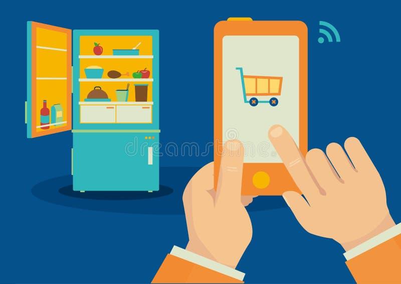 Smartphone kontrollerade den trådlösa kylskåpillustrationen royaltyfri bild