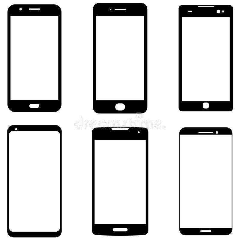 Smartphone kształty Nowożytne telefon komórkowy ikony royalty ilustracja