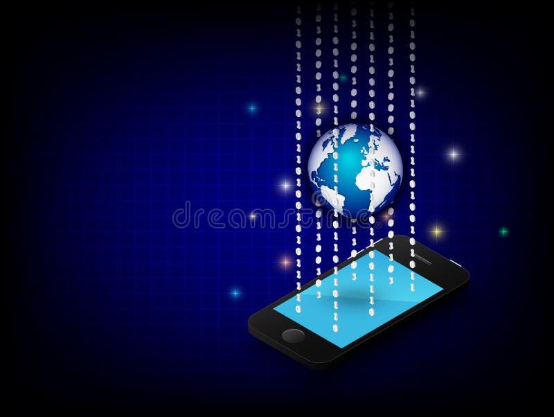Smartphone, kula ziemska i binarna cyfra na błękitnym tle Wektoru 3D graficzny projekt ilustracji