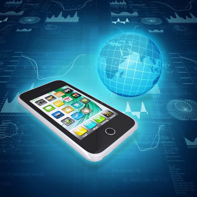 Smartphone, kula ziemska i grafika, royalty ilustracja