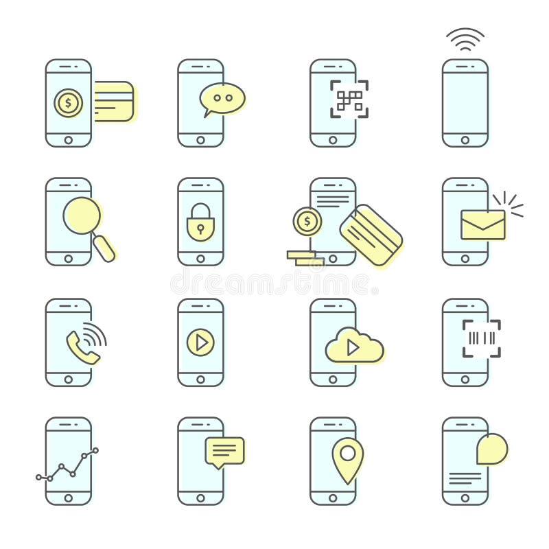 Smartphone lätthetssymboler - NFC, mobil betalning och messaging stock illustrationer