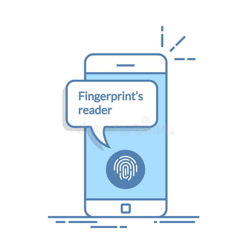 Smartphone låste upp med fingeravtryckknappen, mobiltelefonsäkerhet, mobiltelefonanvändarebemyndigande, inloggningen, skydd vektor illustrationer