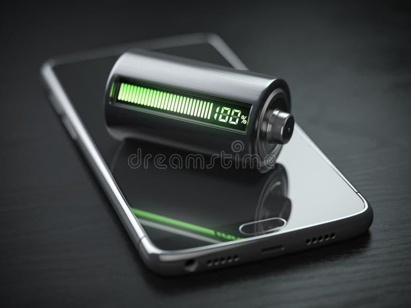Smartphone laddande begrepp Mobiltelefon- och batteriladdningsindikator på den svarta trätabellen stock illustrationer