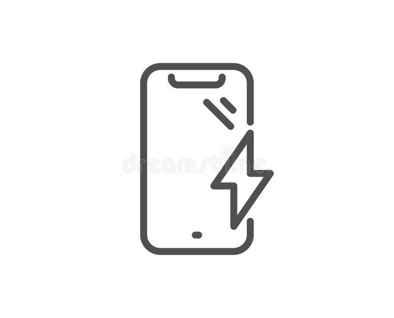 Smartphone laddande linje symbol Telefonladdningstecken MOBIL ENHET vektor vektor illustrationer
