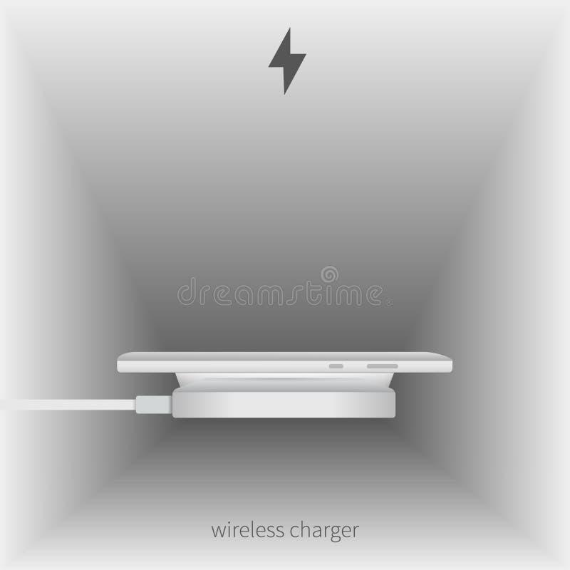 Smartphone laddning utan trådar vektor illustrationer