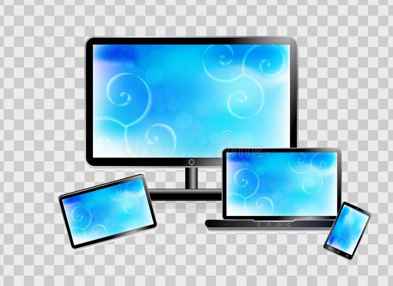 Smartphone, laptop, monitor, tablet set on a transparent background. Vector illustration. stock illustration