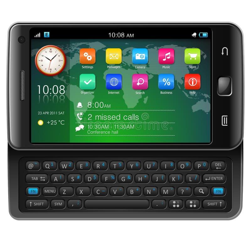 Smartphone laterale dello schermo attivabile al tatto del cursore royalty illustrazione gratis