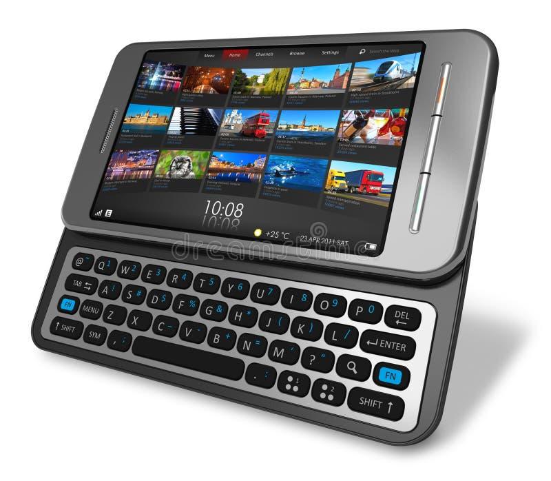Smartphone laterale dello schermo attivabile al tatto del cursore illustrazione vettoriale