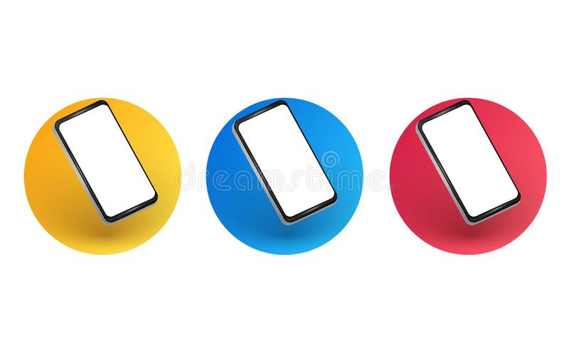 Smartphone layout at an angle. Mobile phone frames with a blank white display vector illustration