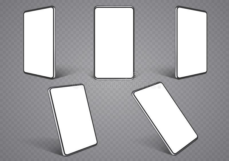 Smartphone layouts from different angles. Mobile phone frames with a blank white display stock illustration