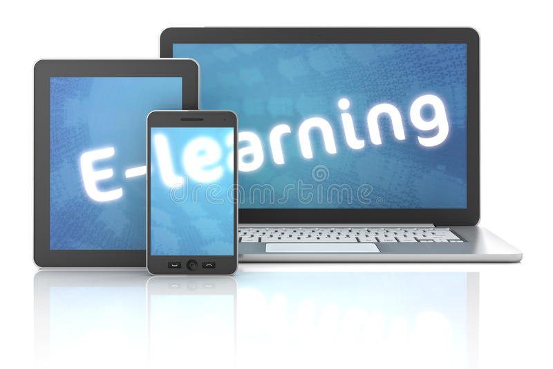 Smartphone, le comprimé et l'ordinateur portable avec l'apprentissage en ligne textotent, 3d rendent illustration stock