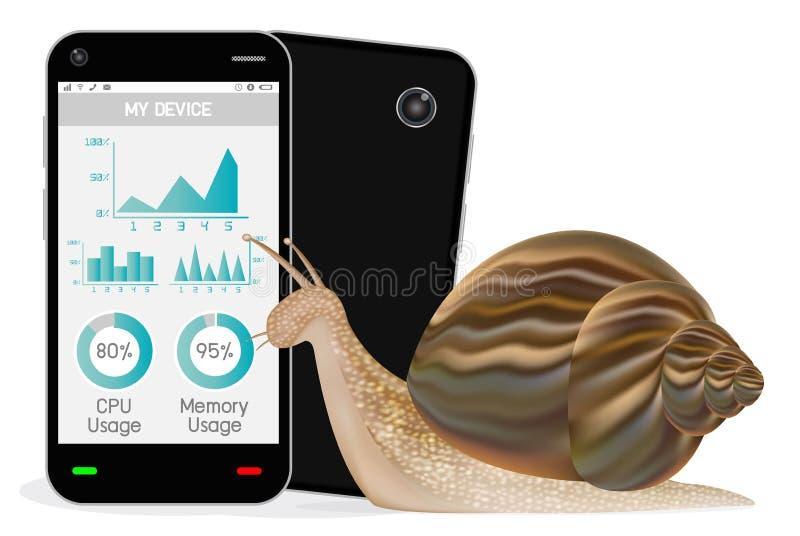 Smartphone lent avec l'escargot illustration stock
