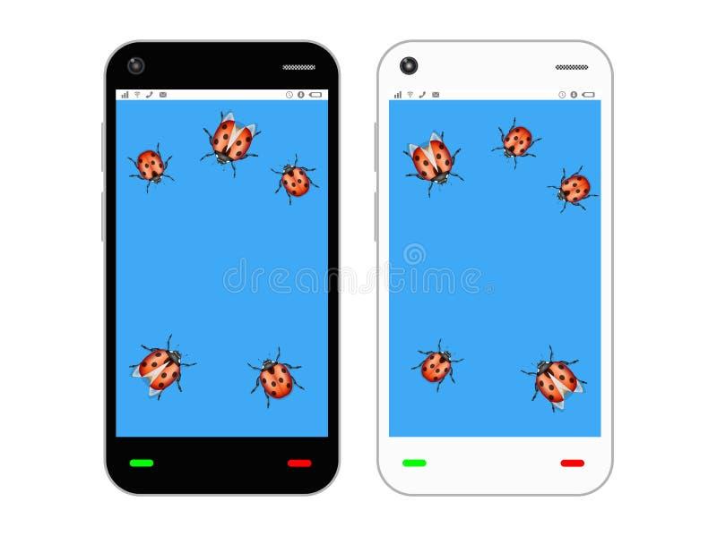 Smartphone lent avec l'insecte illustration libre de droits