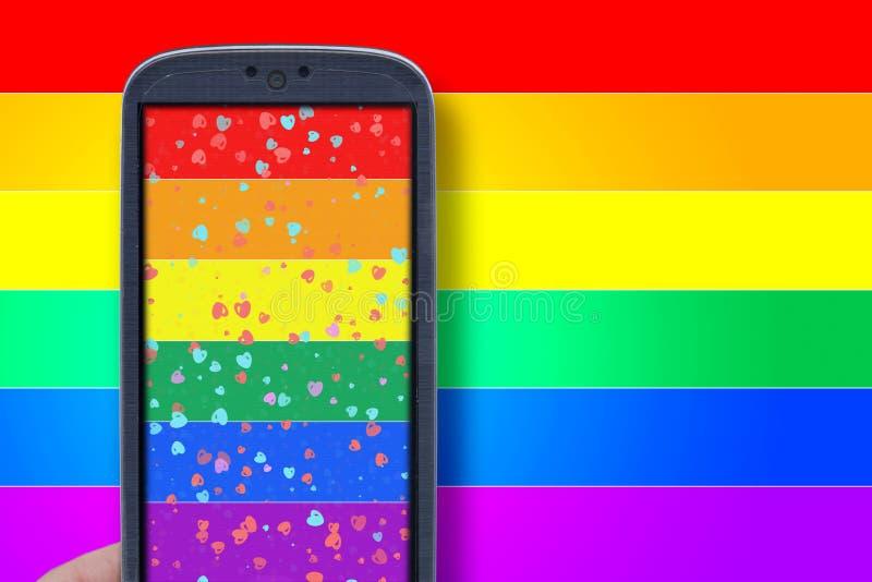 Smartphone LGBT temat fotografia royalty free