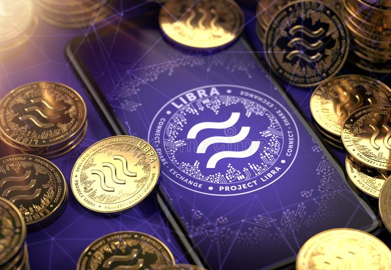 Smartphone with Libra concept coin design on-screen among piles of golden concept coins. Libra as valuable asset concept. 3D stock illustration