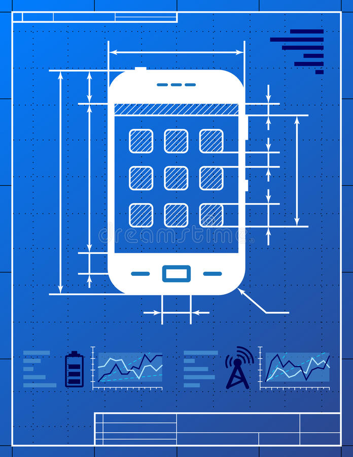 Download Smartphone Like Blueprint Drawing Stock Vector - Image: 26353672