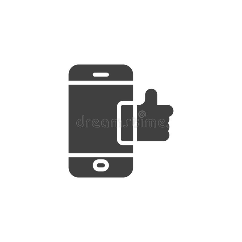 Smartphone with like notice vector icon. Filled flat sign for mobile concept and web design. Mobile phone with thumb up glyph icon. Symbol, logo illustration stock illustration