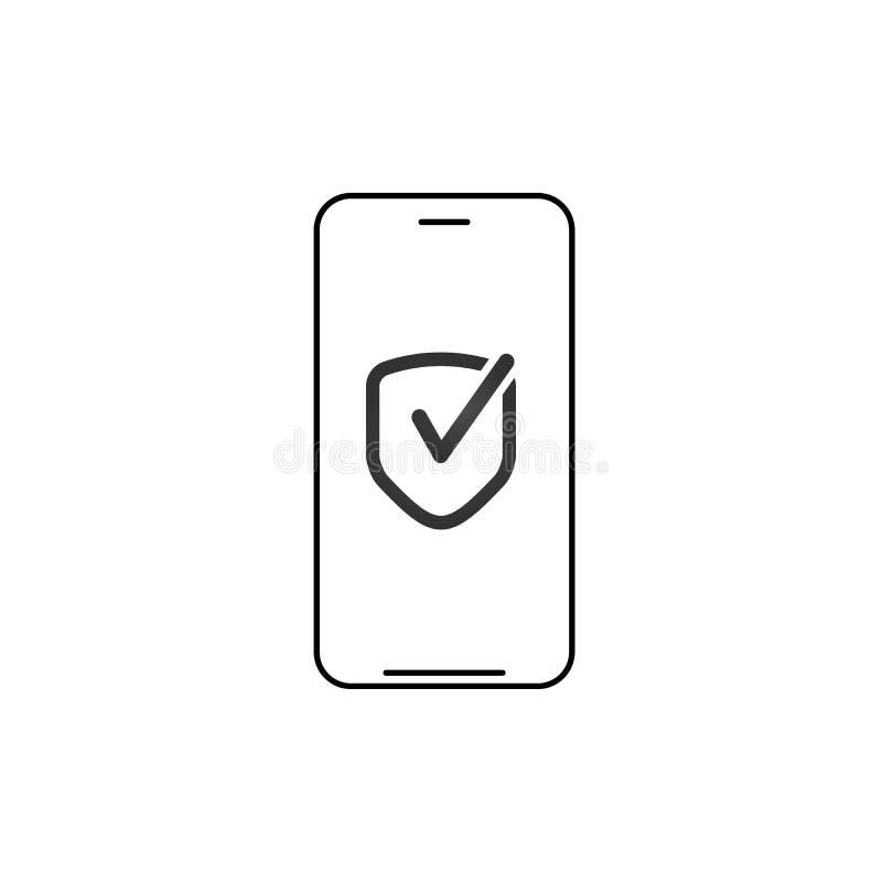 Smartphone linéaire, téléphone portable avec l'icône de bouclier de sécurité avec le coche Illustration de vecteur d'isolement su illustration de vecteur