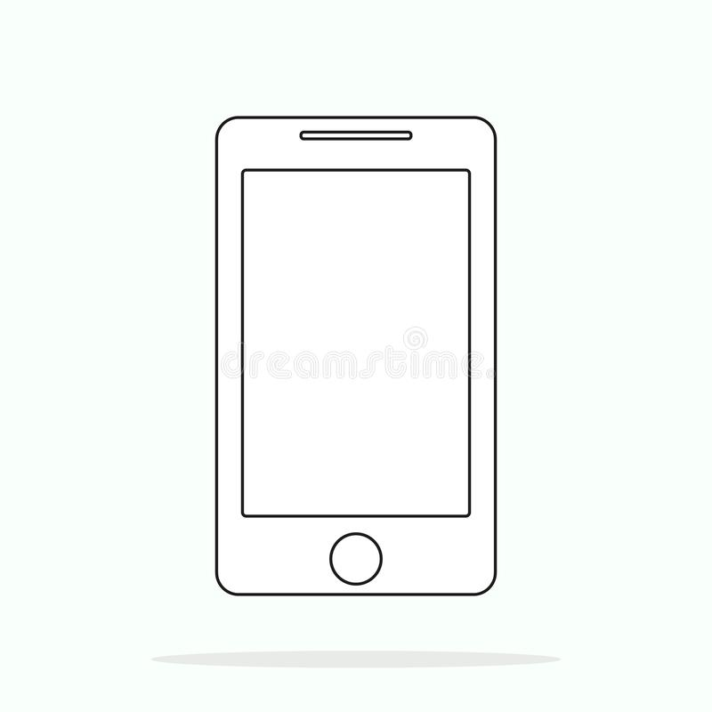 Smartphone line outline style vector illustration, simple mobile phone sketch line art icon isolated on white background royalty free illustration