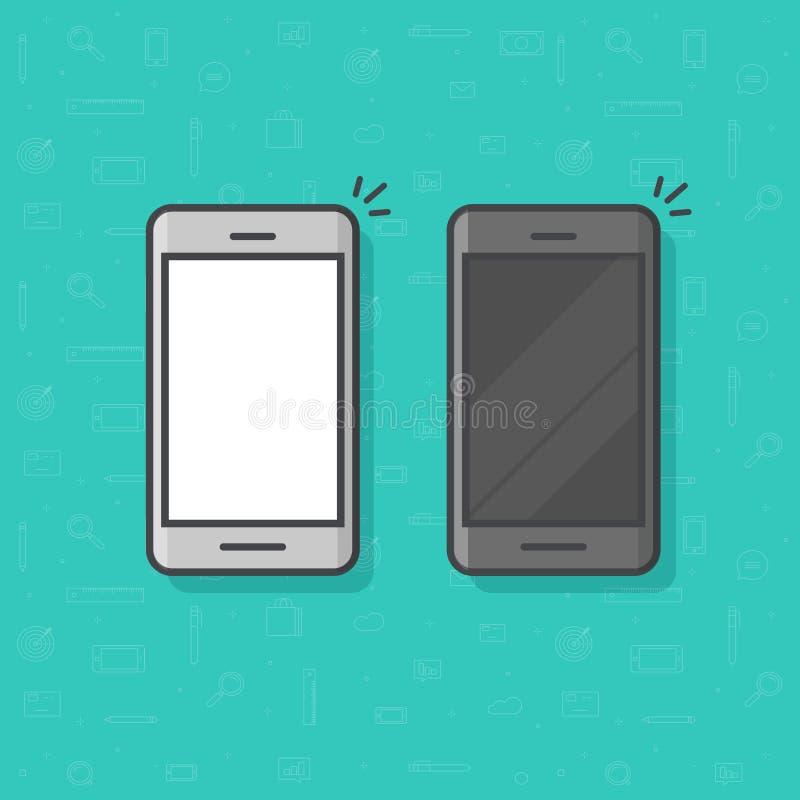 Smartphone linii konturu wektorowa ilustracja, prosta telefonu komórkowego nakreślenia kreskowej sztuki ikona odizolowywająca, cz ilustracji